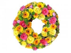 Yellow & Pink Open Wreath